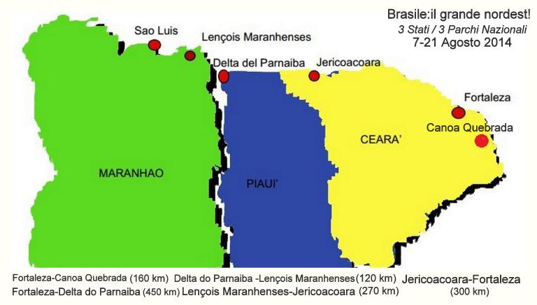 mappa itinerario tour di gruppo Brasile nordest